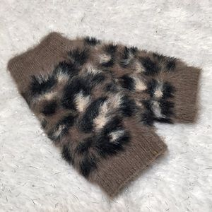 Leopard taupe gloves fingerless NEW